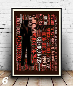 Wall art. Hit Film titles Spelled out in poster James Bond