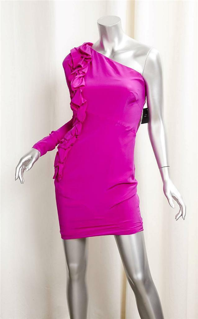 Robert Rodriguez Dress Hot Rosa Fuchsia One Shoulder Ruffle Dress Größe 2
