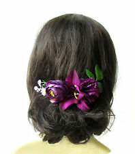 Dark Purple White Baby's Breath Orchid Carnation Rose Hair Comb Headpiece 1979