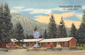WORLAND-039-S-MOTEL-Lake-Tahoe-Stateline-CA-Roadside-c1940s-Vintage-Linen-Postcard