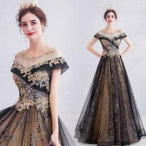 Gorgeous Gold Embroidery Tulle Evening Dresses 16 Quinceanera Cocktail Prom Gown