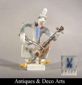 Meissen-Peter-Strang-Miniature-Porcelain-Musician-Figurine-Clown-Chapel-no-60662