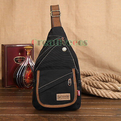 New Men Canvas Travel Hiking Bike Messenger Shoulder Back pack Sling Chest Bag