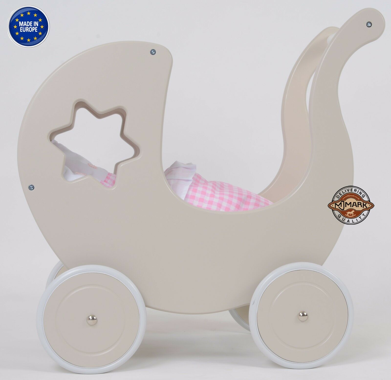 Brand New Wooden Doll Pram GREY STAR B1 including BEDDING Doll´s PRAM by MJmark