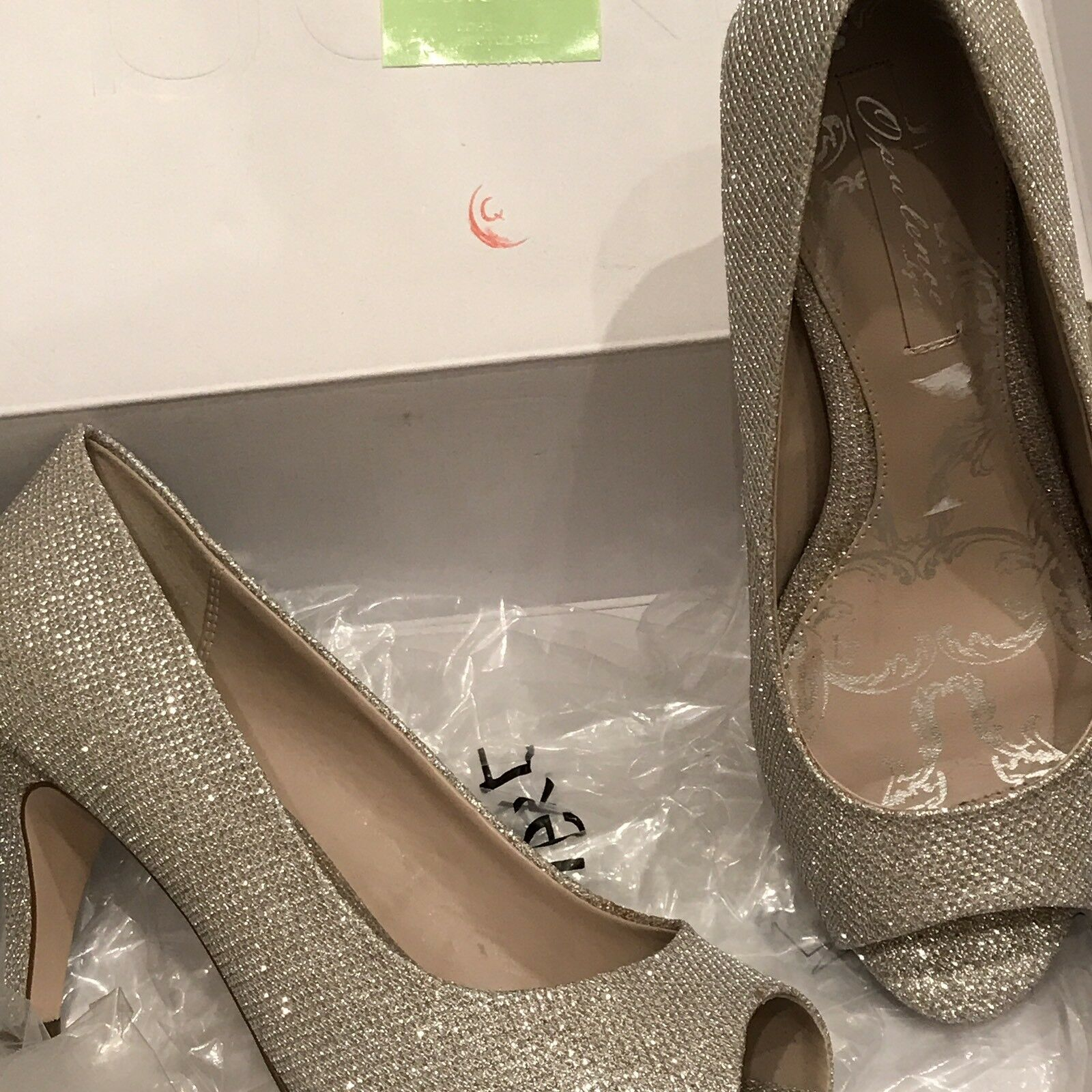 Next Stunning Silver Sparkly Peep Toe shoes Size Uk4 Cruise Christmas Party