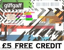 2 x 4G sim cards with £5 FREE CREDIT. All in one tripple cut UK sims 02 giffgaff