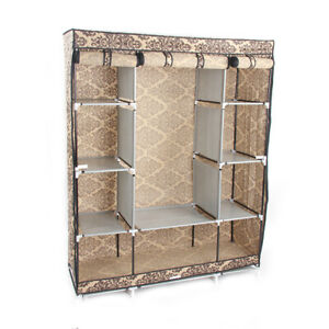 10Lattices-Portable-Closet-Wardrobe-Clothes-Rack-Storage-Organizer-Shelf-Durable