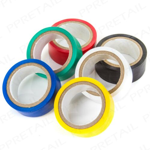 6 Rolls ELECTRICAL PVC TAPE 18mm x 4.5m Insulation Coloured Flame Retardent Set