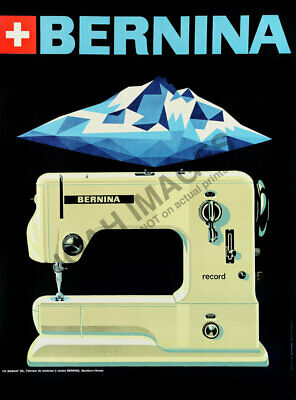 Bernina vintage sewing machine ad poster repro 12x16