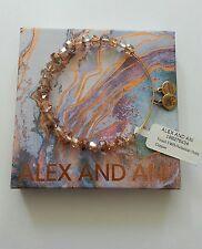 Alex and Ani Tinsel Copper Swarovski Crystal Beaded Bracelet BOX NWT Gold Rare