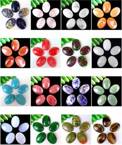 5Pcs Multiple Choice Mixed Gemstone Agate Oval Cab Cabochon 25x18x6mm AE5044