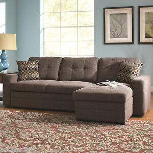Gus Sectional Sofa With Tufts, Storage, and Pull Out Bed Charcoal Living Room