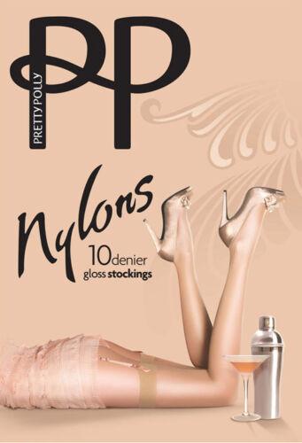 Belt Required Pretty Polly Nylons Gloss Stockings 10 Denier Plain Welt Tops