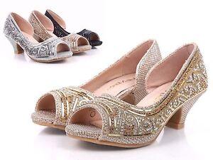 c3c98eaebe Image is loading Gold-Rhinestones-Glitter-Open-Toe-Girls-Kitten-Heels-
