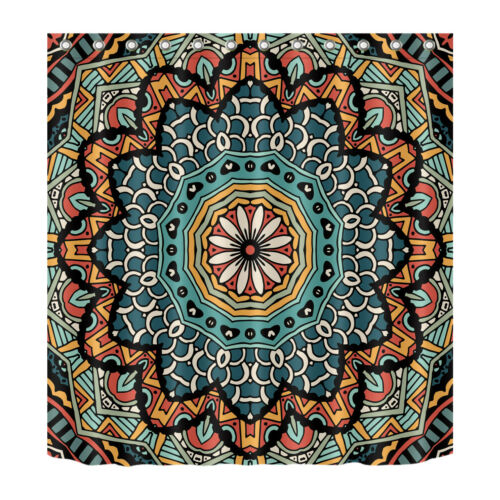 Waterpoof Fabric Bathroom Decor Mandala Shower Curtain /& Hooks Vintage Floral