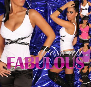 Sexy-6-8-10-Women-039-s-Sequined-Top-Shirt-Casual-Evening-Clubbing-Clothes-XS-S-M