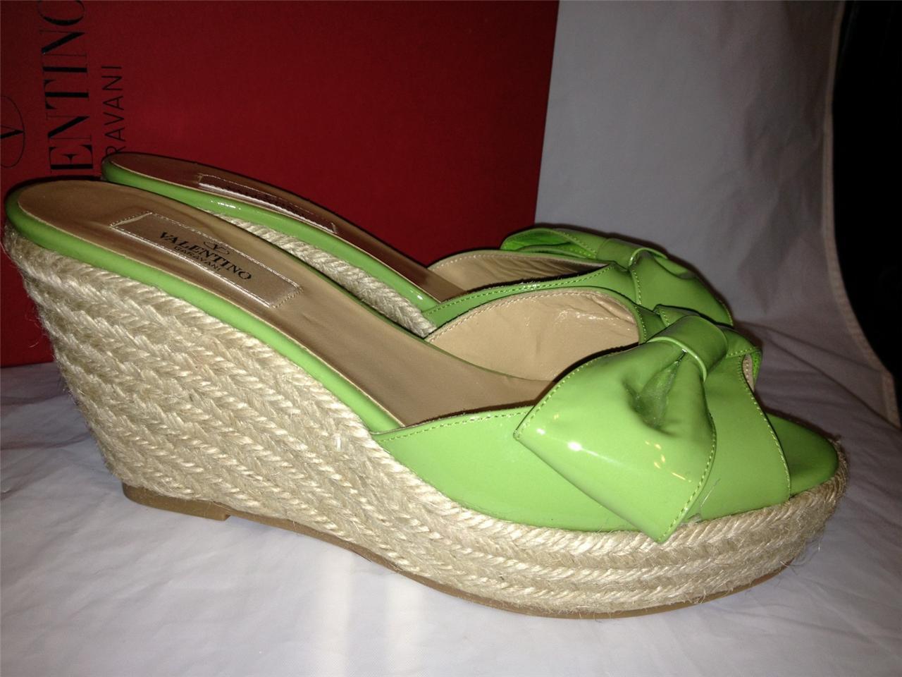 qualità di prima classe Valentino Patent Patent Patent Leather Mena Bow Espadrille Wedge Platform Sandal scarpe  395  offrendo il 100%