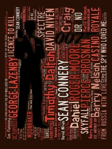 James Bond 1 to 12 Wall art. Hit Film titles Spelled out in poster