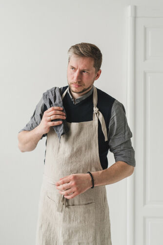 NATURAL GIFT APRON KICHEN APRON NATURAL ADJUSTABLE APRON MEN LINEN APRON