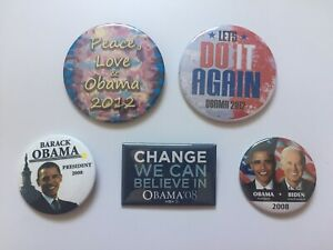 5-Different-2008-amp-2012-President-Barack-Obama-Campaign-Buttons-VP-Joe-Biden