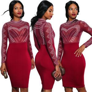 7f379ba16a0 Sexy Women long sleeves mesh sheer hot fix rhinestones bodycon club ...
