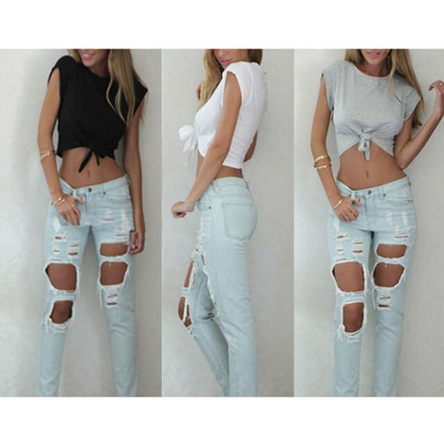 Fashion Sexy Women Sleeveless Camisole Shirt Summer Casual Blouse Crop Tops