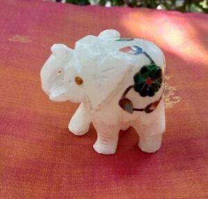 Elephant-Statue-Marbre-Statuette-Pietra-Dura-Figurine-indienne-Fait-main-Inde-T9