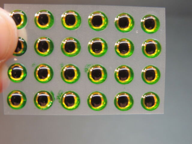 """24 HOLOGRAPHIC DARK GREEN 3D Soft Molded 1//4/""""  6mm Adhesive Eyes Fly Tying Lures"""