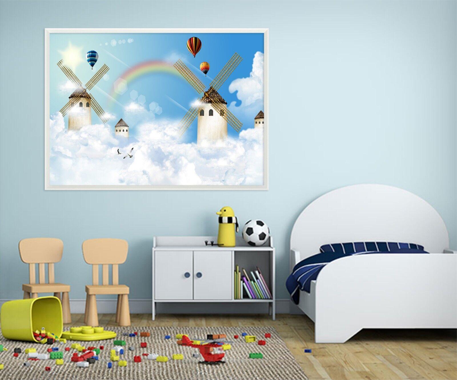 3D Rainbow Windmill Hut 3 Framed Poster Home Decor Print Painting Art WALLPAPER