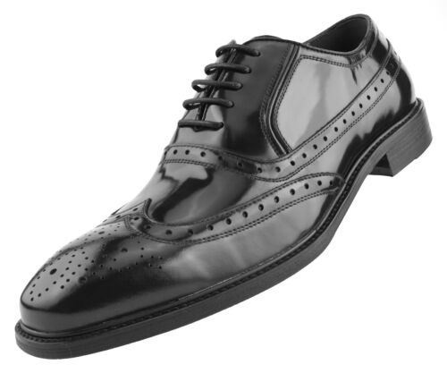 Shiny Tuxedo Dress Shoes Mens Oxfords Genuine Box Calf Leather Wingtip Lace Up