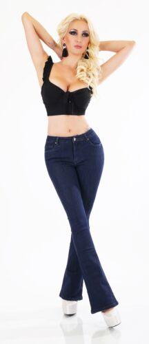 Damen Jeans Hose Schlag BootCut hoher Bund Denim ohne Waschung dunkelblau XS-XL