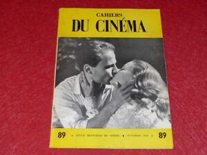 REVUE-LES-CAHIERS-DU-CINEMA-N-89-NOV-1958-NICHOLAS-RAY-EO-1rst-Print