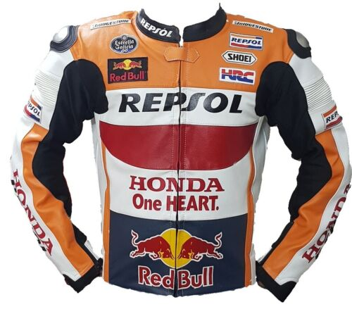 5 Protections Armour inside Honda Repsol Motorbike Leather Jacket In Cow hide