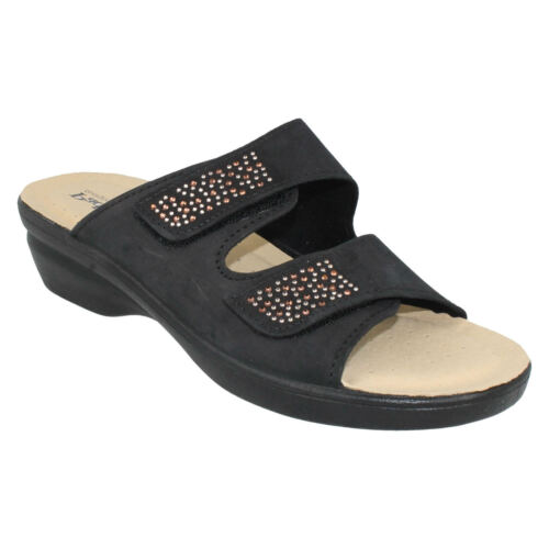 casual Wide Slip neri estivi Leather Sandali On Ladies Padders Wedge Dhalia Mule vEqO44