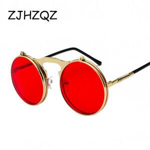869cae2f467 ZJHZQZ Flip Up Steampunk Retro Sunglasses Men Round Vintage Spring ...