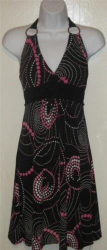 VANITY juniors sz S SMALL black pink white circle
