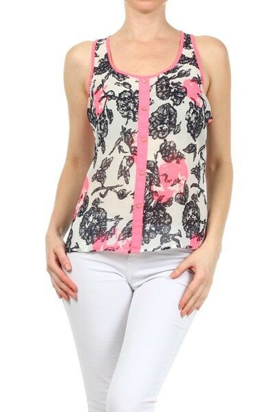 New Sleeveless Chiffon Blouse Flower Print Button Down Top Racerback Shirt