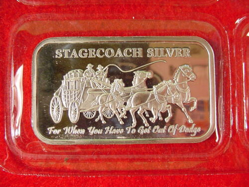 Stage Coach Fractional Silver 999 1 oz Bar Sealed Stagecoach