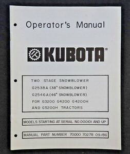 KUBOTA G3200 G4200 G4200H G5200H G6200H TRACTOR OPERATORS OWNERS MANUAL