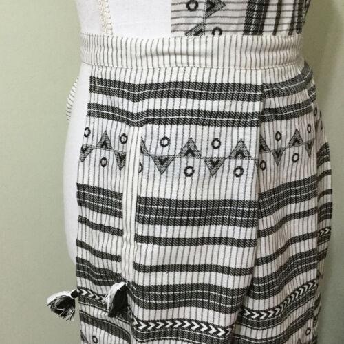 Anthropologie Aysel Apron Adult Black White Southwestern Boho Cotton