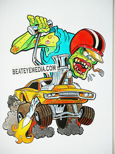 THE-PIZZ-ORIGINAL-ART-COMIC-ART-COMICS-HOT-ROD-RAT-ROD-RAT-FINK-BIG-DADDY-ROTH