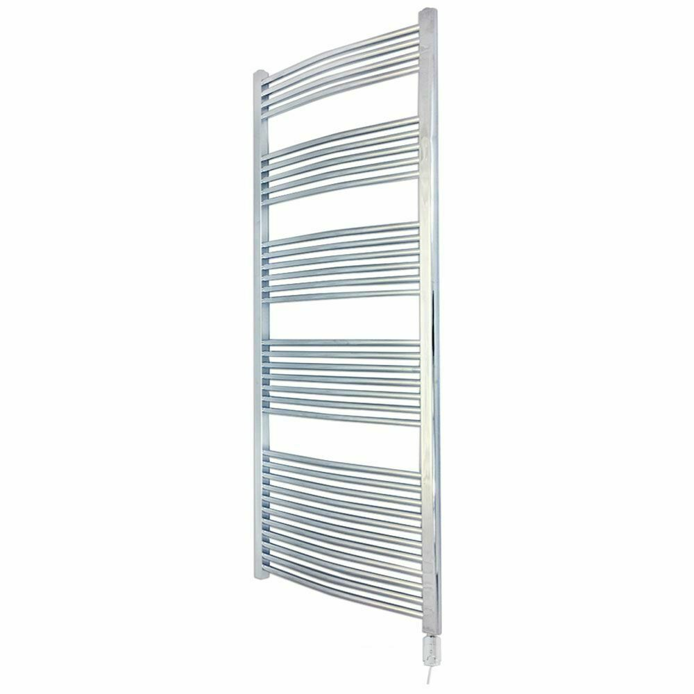 600mm x 1800mm 1800mm 1800mm Curved Chrome 600W Thermostatic Electric Towel Rail & Element a7494c