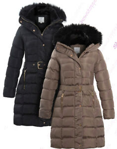 NEW-Size-8-10-12-14-16-Womens-PADDED-PARKA-COAT-Ladies-JACKET-Fur-Puffer-Black