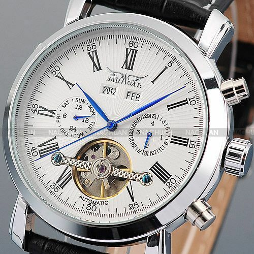 New Men's Leather Band Automatic Mechanical Fashion Date Day Wrist Sport Watch