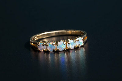 Eternity Australian Solide Rond Opale Anneau 18K or jaune Wedding Band Rainbow
