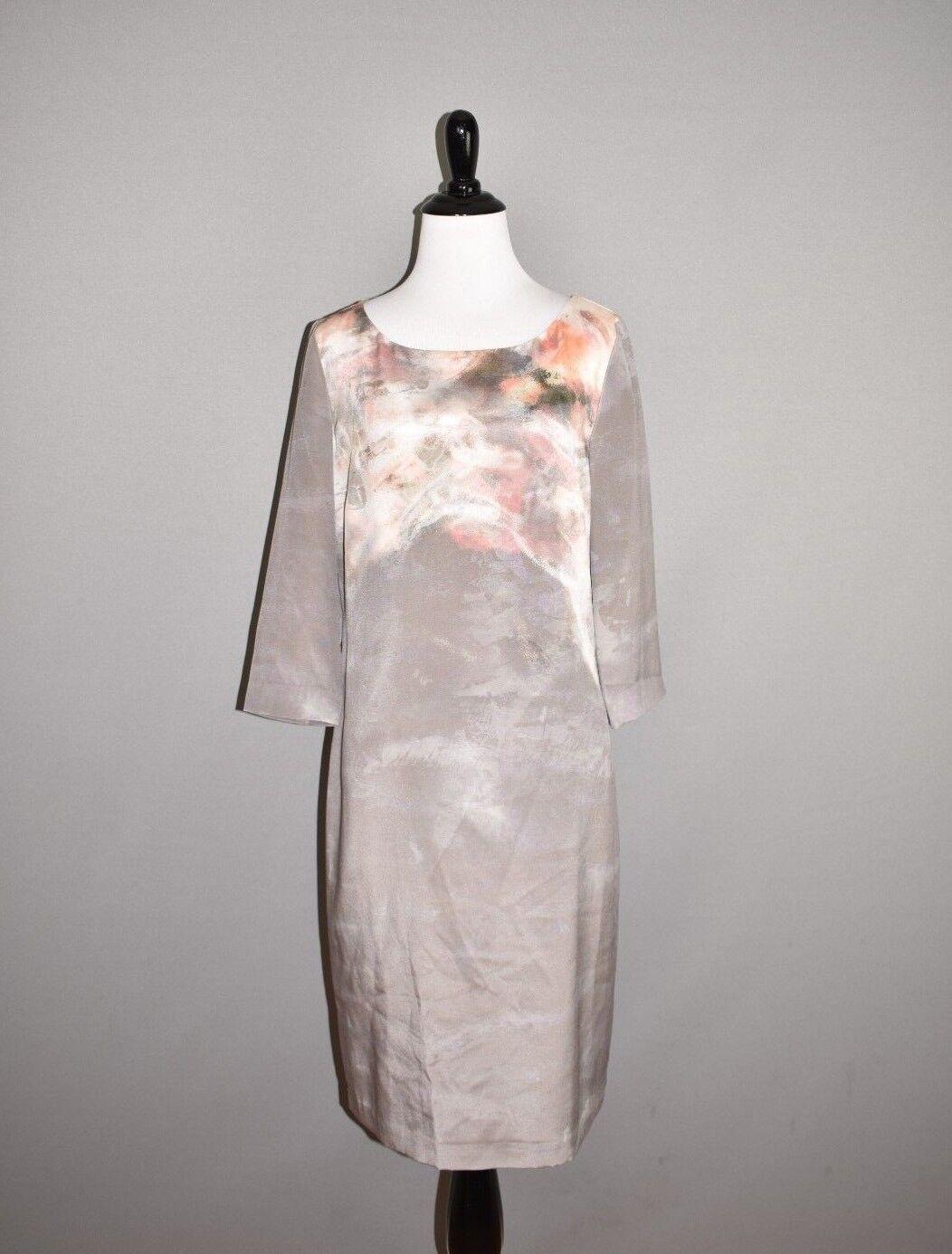 ST. JOHN NEW  995 Slate Cream Silk Shift Dress 3 4 Sleeves Size 6