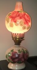 VintageTable Parlor Lamp Light Pink Gone With The Wind Hand Painted Roses 1950s