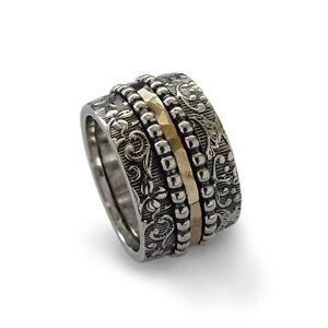 925-Sterling-Silver-Ring-Gold-Spinner-Oxidized-Filigree-Beaded-Hammered-16mm-New