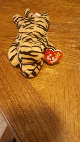 Ty Original Beanie Baby Stripes The Tiger Plush Toy With Tag Errors