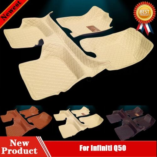 Full Covered Main Leather Waterproof Car Floor Mats for Infiniti Q50 14-16 W78t